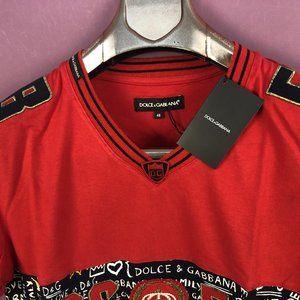 "Dolce & Gabbana Shirts - Dolce&Gabbana Men Red&Black T-Shirt ""M"""